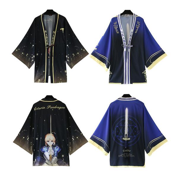 Asiatique Taille One Size Japon Anime Fate Séjour Nuit Sabre Cosplay Costume Yukata Haori Mousseline De Soie Peignoir Kimono Lâche Manteau Manteau