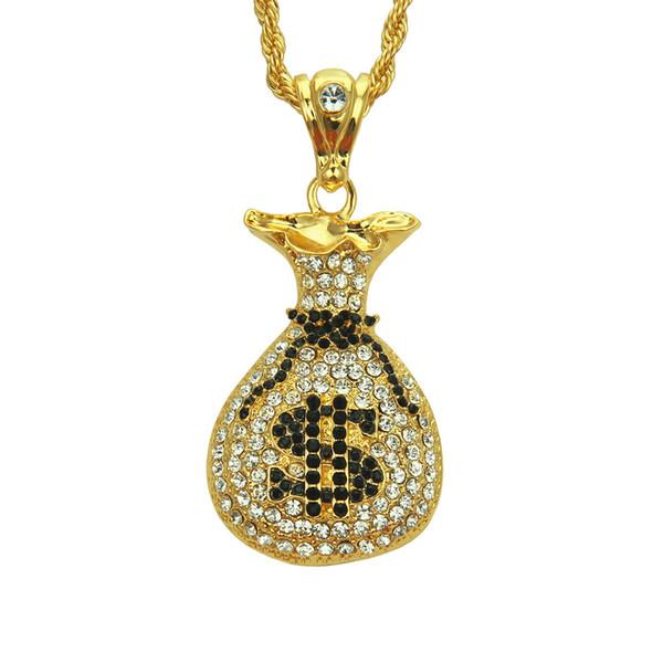 Yiwu factory selfdesign creative hiphop rap style Money bag shape pendant necklace high quality crystal diamond pendant necklace