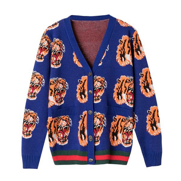 2018 designer de luxo marca inverno cardigans mulheres tigre bordado camisola de malha rosa azul de alta qualidade suéter de lã
