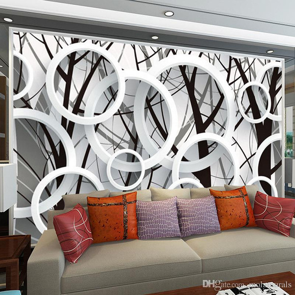 Large Mural Custom Bedroom Living Room TV Background Circle Ring Fashion Simple Wallpaper Fabric Wall Paper 3D Stereoscopic