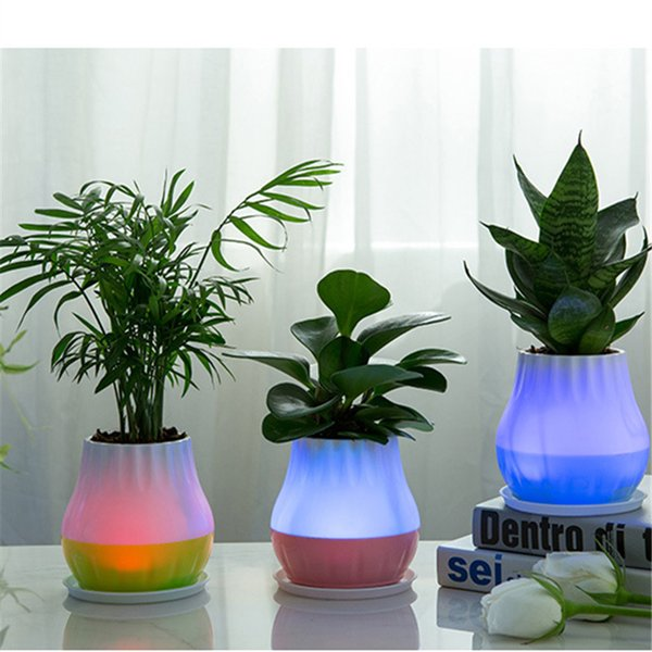 Smart LED Flowerpot Bedroom Night Light Plant Pot Bluetooth Wireless Music Speaker Lamp Touch Sensor Sound Gift Home Office Dec
