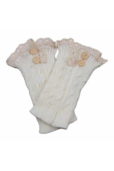 Mulheres Crochet Malha Lace Trim Polainas Meias Boot Cuffs 5 Cores