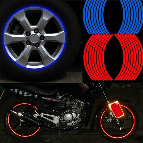"best selling 16 Pcs Strips Wheel Stickers And Decals 14"" 17"" 18"" Reflective Rim Tape Bike Motorcycle Car Tape 5 Colors Car Styling"