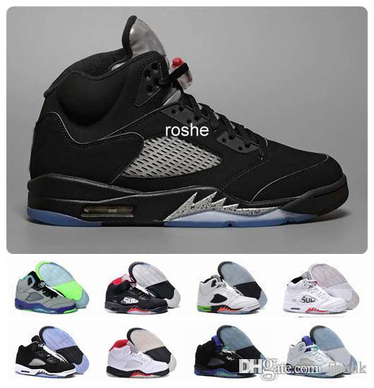 New 5 OG Black Metallic Mens Basketball Shoes Wholesale High Quality Genuine Leather 5s Air Sneakers Eur 41-47 US 8-13