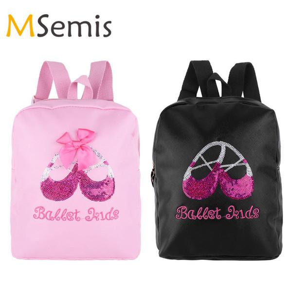 Kids Girls Ballet Dance Bag Students Gym School Backpack Sequins Toe Shoes Embroidered Shoulder Bag Backpacks for Children Girls