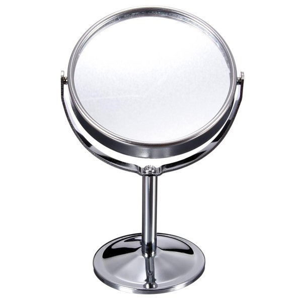 "6"" Small Round Stainless Steel Desktop Cosmetic Mirror Portable Travel Metal Double-side 2x Magnifying Table Stand Makeup Mirror"