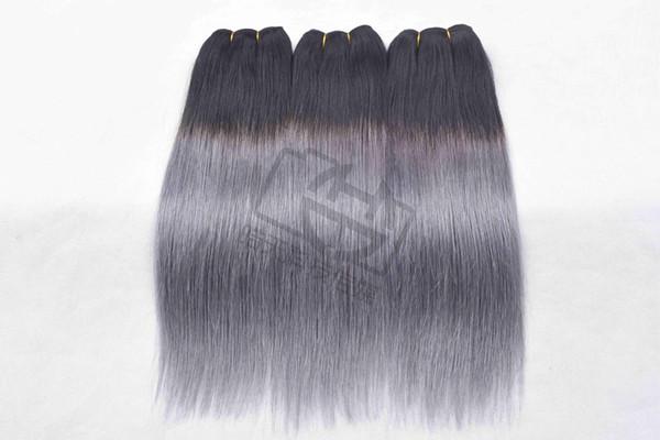 Ombre Color 1b/Grey Straight hair Brazilian Straight human hair 3/4 bundles Ombre Brazilian Human Hair Weave Non remy