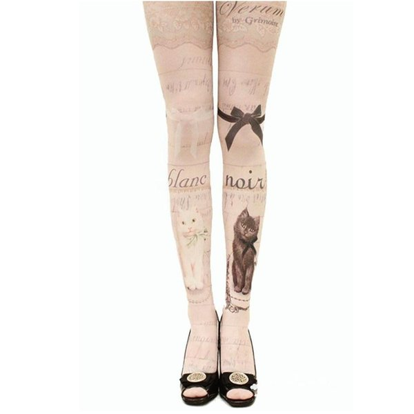 New Women Tights With Cats Harajuku Tattoo Cat Pantyhose Female Fancy Stocking Medias Party Pants For Women pantyhoses Lolita