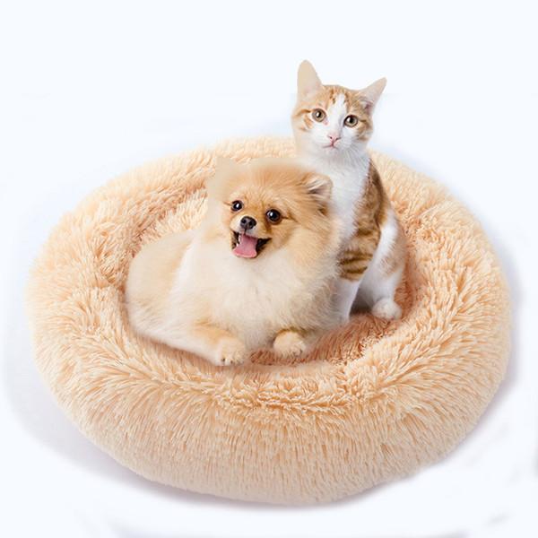 Solid Fleece Round Pet Bed Anit-skip Pet Dog Basket Kennel Cat Dog Bed For Medium And Samll Dogs Padding Mat Cat Basket