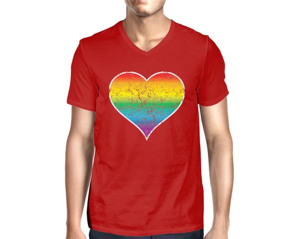 Distressed Rainbow Heart Gay Lesbian Pride LGBTQ Men V-neck T-Shirt