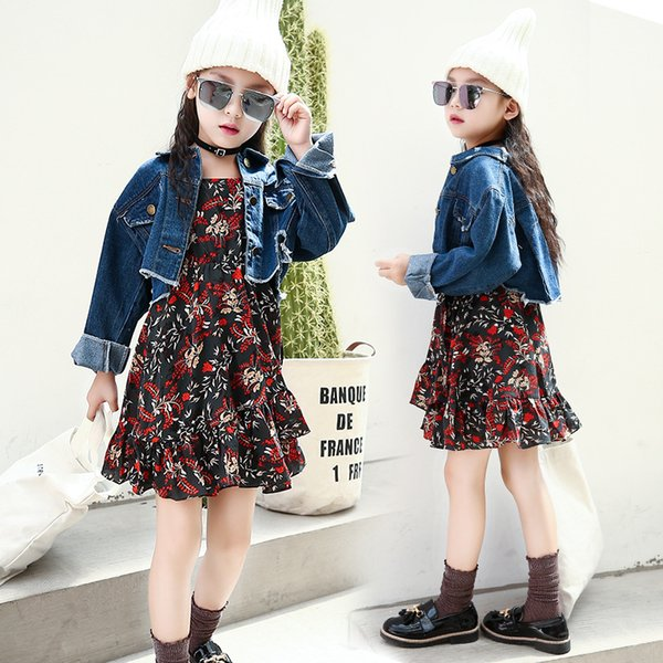 2018 clothing sets for baby girls Tide retro style big boy casual personality denim jacket sling floral dress suit clothing sets for girls