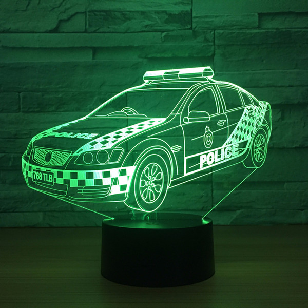 Led Home Decor Gradients 3D light Desk Lamp For Kid Touch police Car Night Light Baby Sleep Usb Light Drop shipping Free Shipping