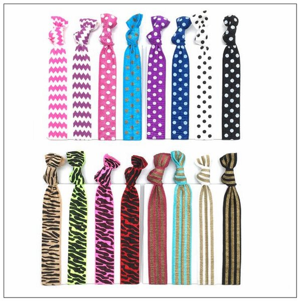 16 Cores Atadas Mulheres Laços de Cabelo Elastic Leopardo Faixas de Cabelo Das Mulheres Dos Homens Acessórios Para o Cabelo Listras Elastic Hairband CCA9083 200 pcs