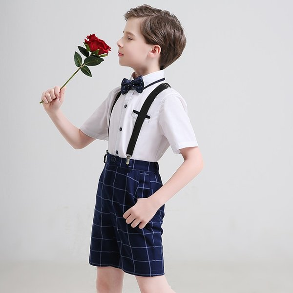 Good Quality Modern Boys Summer Tuxedos Two Pieces Set (Overall+Shirt) Short Design Wedding Boys Suits Party Performance Clothing Set