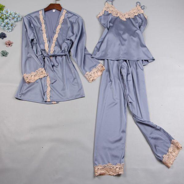 Autumn Women Pajamas Sets Sleep Lounge Satin Sleepwear Lace Silk 3 Pieces Camisole+Robe+Pants Pyjama Femme Home Suit
