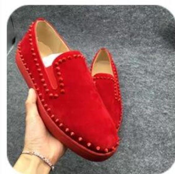 новый низкий вырезать замша шипами Toe повседневная квартиры Красное дно роскошные туфли для мужчин и женщин партия дизайнер кроссовки известный бренд