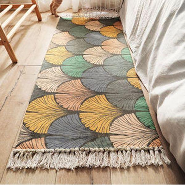 Cotton Linen Bedside Carpet Woven Mat Bathroom Living Room Carpets Geometric Hand Made Indian Rug Bohemia Modern Printing Mat Flooring Over Carpet