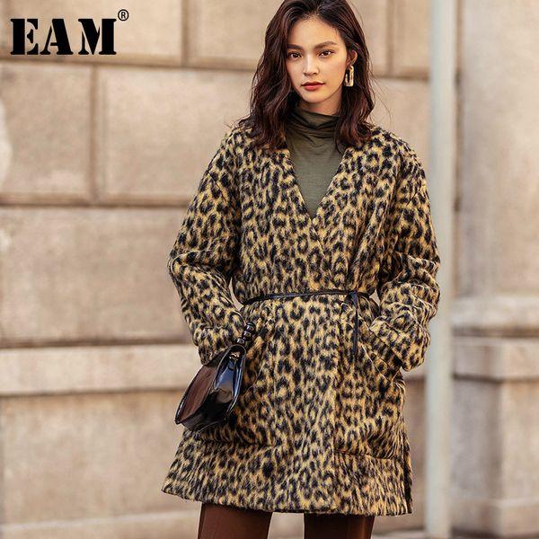 [EAM] 2018 Autumn Winter Woman Leopard Print V-neck Adjustable Waist Pockets Long Sleeve Warm Split Loose Coat Parkas LD574
