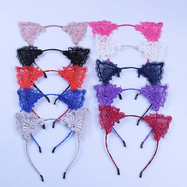 Christmas lace cat ears headband baby girls women hair sticks party performance European and American hair accessories