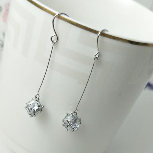 Hot Style European and American fashion exquisite jewelry lady zircon long block and cube shiny earrings fashion classic exquisite