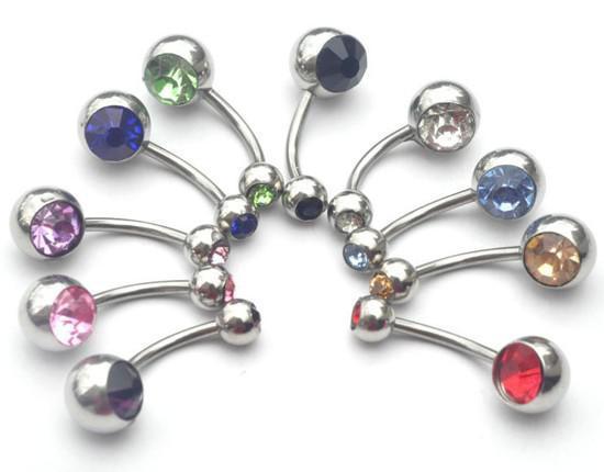 Wholesale-5Pcs You Choose Bulk Trendy Body Jewellery belly Tongue Bar Lip Eyebrow Nose Rhinestone Piercing Rings