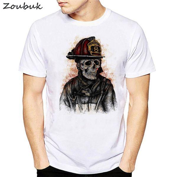Neuheit-Schädel-Feuerwehrmannentwurfs-T-Shirt Männer kühlen T-Shirt Sommer kurzes Hülsent-shirt männliche Hip-Hop-Oberseiten-Menskleidung plus Größe ab