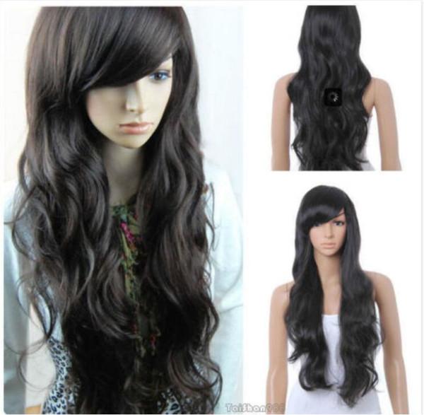 Pelucas de la peluca del pelo de la señora de las mujeres onduladas rectas calientes negras de la venta caliente + casquillo