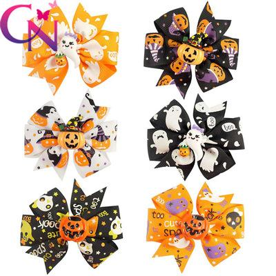Children's bow knot hairpin holiday windmill, swallow tail hairpin, Halloween Pumpkin ghost alligator clip