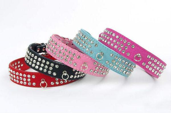 2018 heiße Verkäufe Wildleder Strass Hundehalsband Kristall Diamante 3 Reihen Haustier Kragen Größe S M L 4 Farbauswahl rosa rot blau schwarz