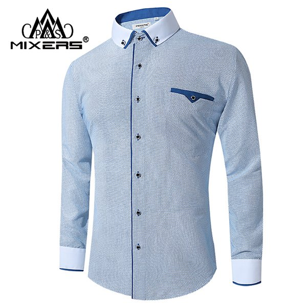 New Arrival 2018 Fashion White Men Classic Shirt Blue Printing Long Sleeve Business Casual Shirts Men Comfortable Clothing