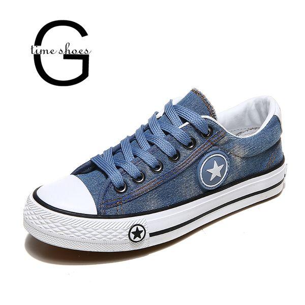 daa075cb2 wholesale Sneakers Women Denim Casual Shoes Female Summer Canvas Shoes  Trainers Lace Up Ladies Basket femme