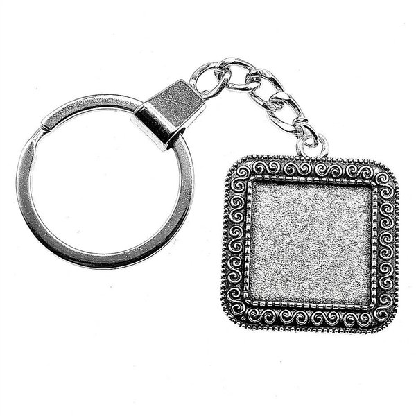 6 Pieces Key Chain Women Key Rings For Car Keychains With Charms S Sign Inner Size 20mm Square Cabochon Cameo Base Tray Bezel Blank