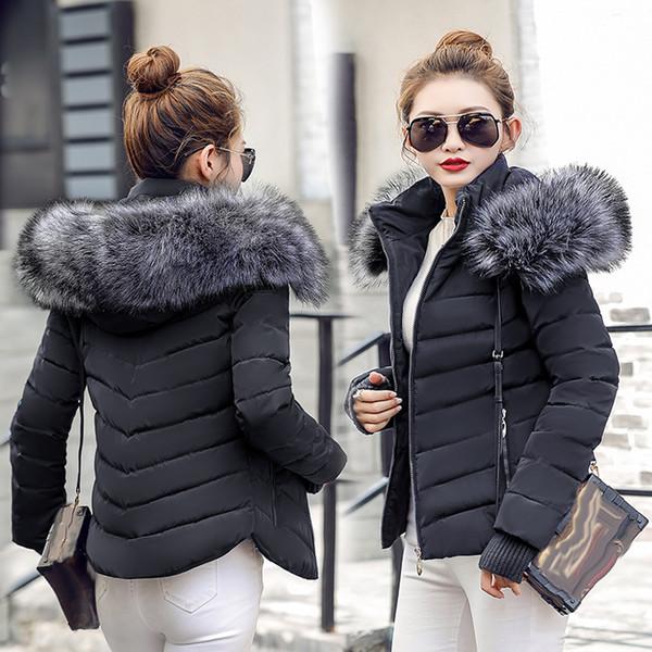 SIJIMZ Kış Ceket Kadınlar 2018 kış aşağı sıcak ceket kadınlar kalın paragraf Yapay Rakun Kürk Yaka kadın ceket ceket S18101203