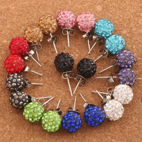 30pairs/lot 10MM Pave Disco Ball Round Beads Czech Crystal Studs 10Colors New Earrings Hip Hop