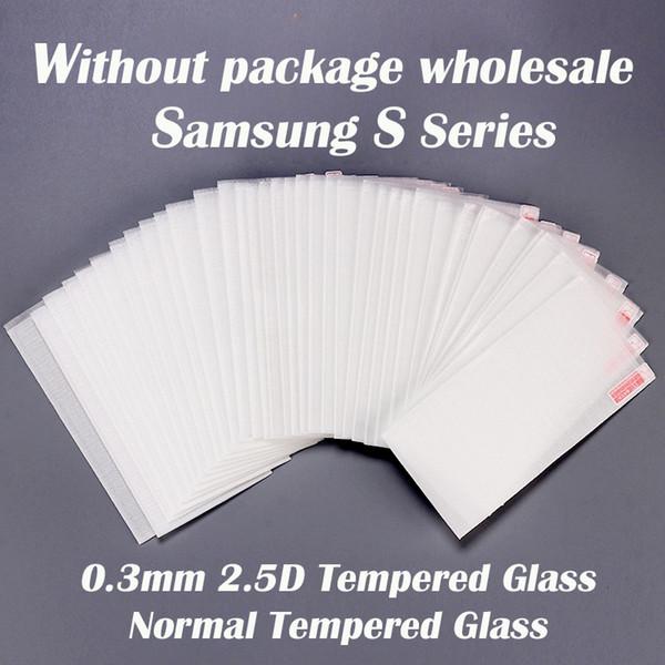 0.3mm 2.5D Protector de pantalla de cristal templado normal para Samsung S serie S3 S4 S5 S6 S6 borde S7 S7 borde S8 S8 Plus S9 S9 más S8 activo