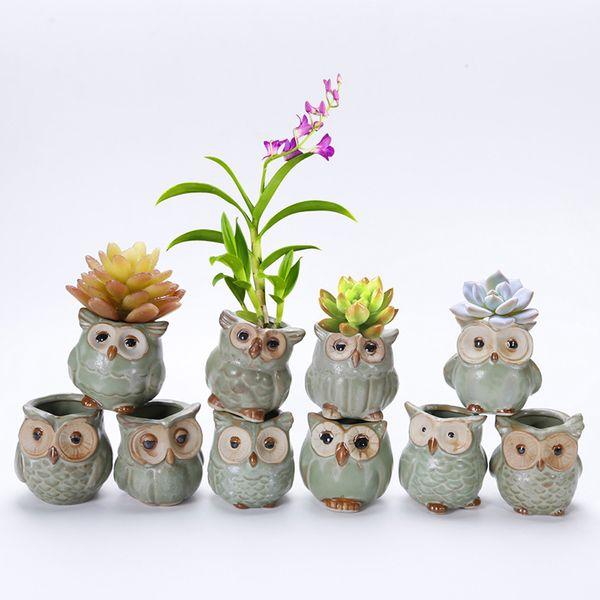 Jardin Hibou Planteurs Pots Céramique Fleur Glaçage Base Ensemble Plante Succulente Pot Cactus Plante Pot De Fleur Conteneur Jardinière Bonsaï Pots WX9-835