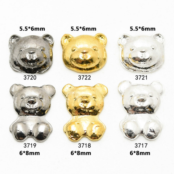 Top quality new fashion alloy nail jewelry popular cute bear nails rhinestone DIY nail / mobile phone shell decoration