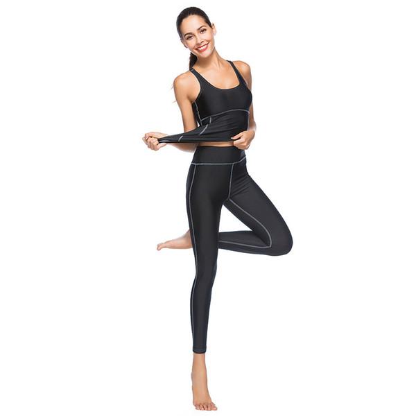 Women Solid Yoga Set Gym Fitness Clothes Vest+Pants Running Tight Jogging Workout Yoga Leggings Sport Suit Plus Size YS018