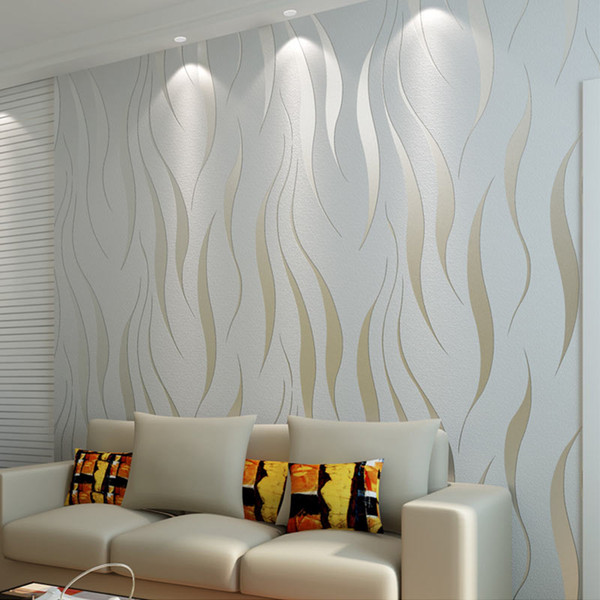 Großhandel Non Woven Beflockung Tapete Home Decor Moderne Mode 3D Welle  Streifen Geprägte Tapeten Wohnzimmer Sofa Schlafzimmer Wand 0,53 * 10 Mt  Von ...