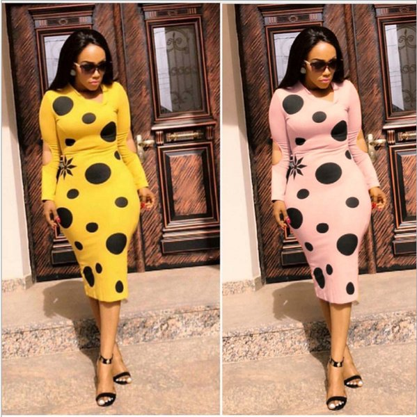 Foreverfad 2018 Hot sales new summer women's elegant long sleeve polka dot printed cut out hip-wrapped bodycon lady's dresses 243
