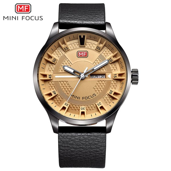 MINIFOCUS Luxury Brand Genuine Leather Strap Men's Watch Fashion Casual Quartz Clock Military Wrist Date Display Male Watch
