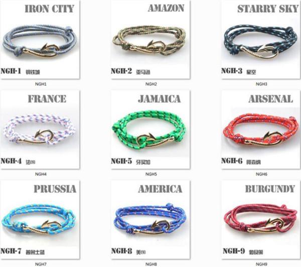 En gros - Endless August Multilayer Rope Bracelet pulseras hombre Tom espère nautique Ancre Sailor Anchor Bracelets hommes amitié