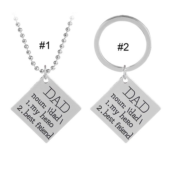 DAD My Hero Best Friend Necklace Keychain Letter Pendant Rings Family Love Fashion Jewelry Gift for father's day 162592