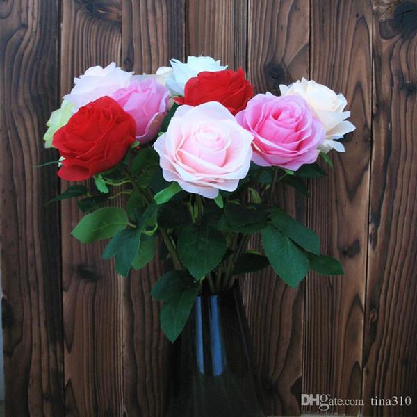 Comercio al por mayor 100 unids / lote Flores Artificiales Encantadoras Rosas Ramo Blanco Rosa Naranja Verde Rojo para la boda home hotel decor T2I089