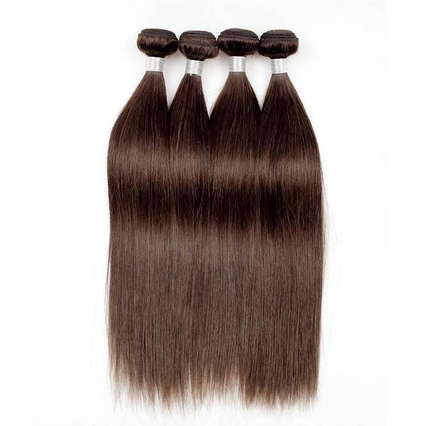 4Pcs Brazilian Straight Hair Weave Bundles Natural Color 2 Dark Brown Quality Remy Human Hair Extension Virgin Brazilian Hair Bundles