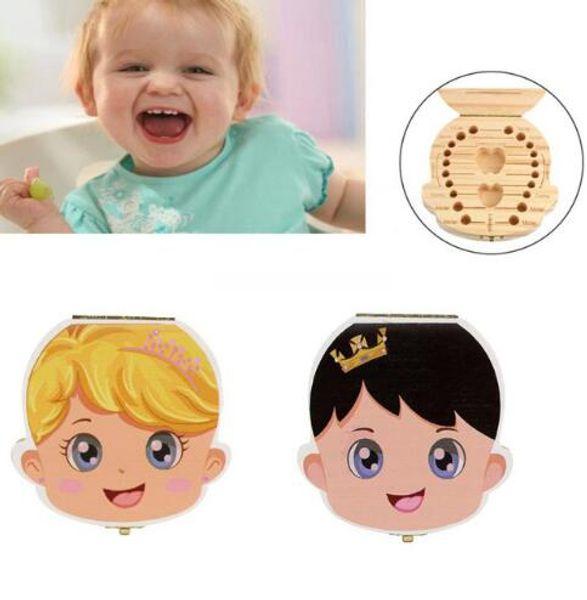 Caja de dientes para bebés Organizador para bebés Idioma inglés Guardar dientes Niños Chicas Imagen Almacenamiento de madera Caja de dientes deciduos Almacenamiento de dientes de leche KKA4176