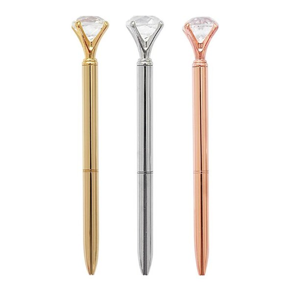 Real Metal big Diamond Ball-Point Pen High-Quality Fashion Business Pen promotion school stationery Gift crystal pen 200Pcs/Lot
