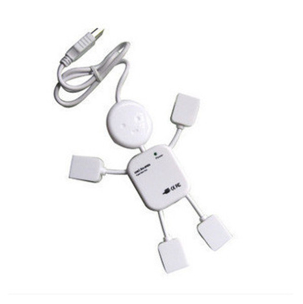 Portable Cute USB 2.0 Human Robot Man Shape 4 Port High-speed Mini Hub Split Extension Expansion Cable for PC Laptop