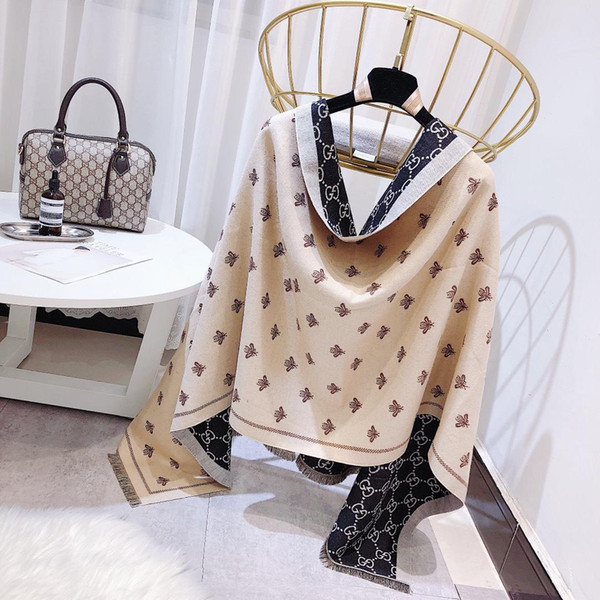 Women Luxury Italy Winter Warm Shawl Bee Print Long Blanket Pashmina Cashmere Poncho 180*70cm