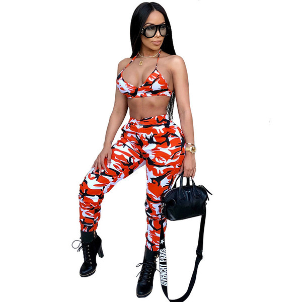 2019 neue Tarnung 2 Stück Set Frauen Zweiteilige Outfits Crop Tops Bodycon Dünne Hosen Frauen Sets Damen Anzug Sexy Clubwear